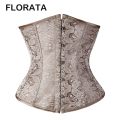 FLORATA Hot Black Silver Yellow lace up boned satin underbust corset waist cincher Shaper