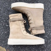 New Handmade Winter Crepe Bottom Men Platform Nubuck Chelsea Boots Casual Season Fashion Platform Motorcycle Kanye west Boots