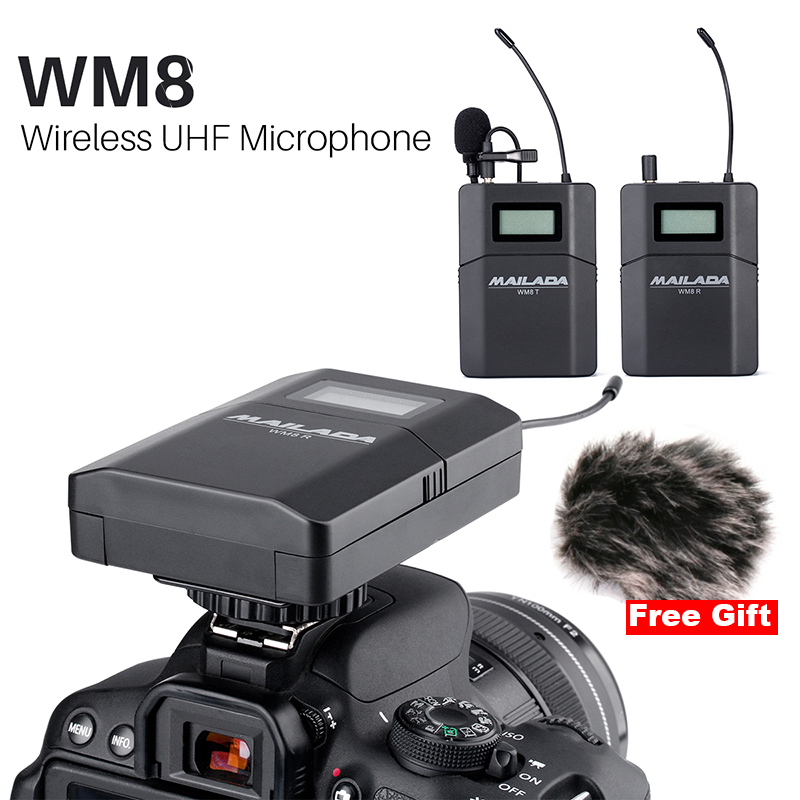 2019 Mailada WM8 Wireless UHF DSLR Camera Microphone System On Camera Lavalier Lapel Mic Receiver Transmitter