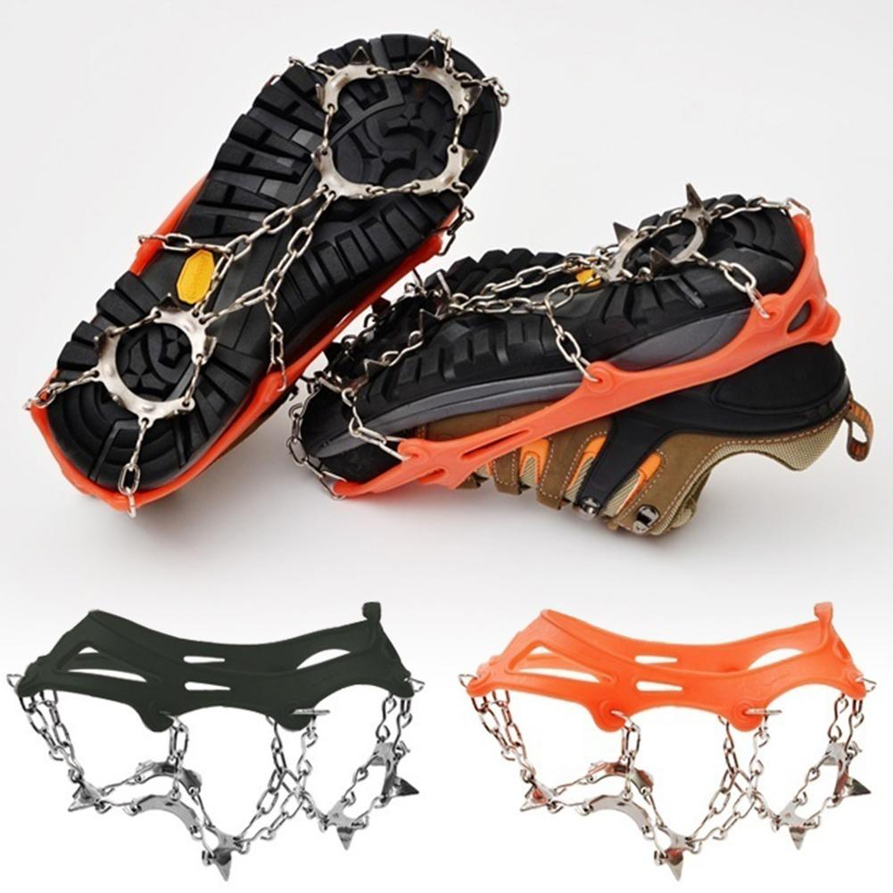1 Pair 13 Teeth Anti-Slip Ice Snow Shoe Grips Climbing Cleats Crampon Boot Shoes Cover