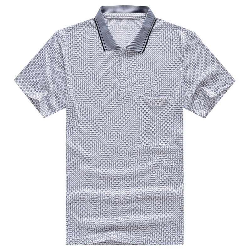 HEFLASHOR Brand New  Men's Summer Lapel  Silk Short Sleeve Casual Polo Shirts Printed Homme Tops Men Clothes Dropshipping