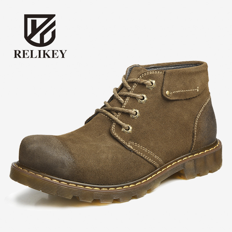 RELIKEY Brand Men Boots Handmade Winter Warm Boots High Quality Split Leather Male Shoes with Plush Snow Work Boots for Men men boots 2015 men s winter warm snow boots genuine leather boots with plus velvet shoes high quality men outdoor work shoes