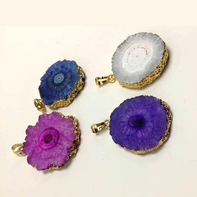 Natural Onyx Charms Pendants Multi Colorful Slice Irregular Agat  Crystal Stone Quartz Pendant DIY Charm Creative Jewelry Making