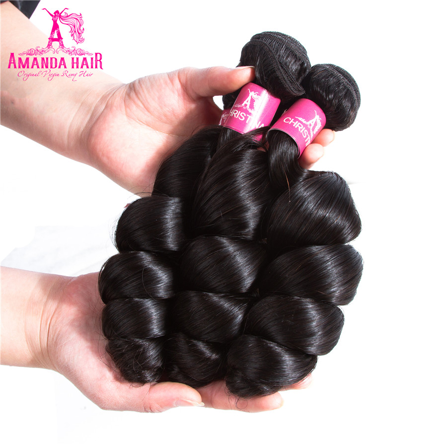 Amanda Human Hair Loose Wave Peruvia Hair Weave Bundles with Closure Free Part 4pcs/lot 100% Remy Hair 3 Bundles with Closure