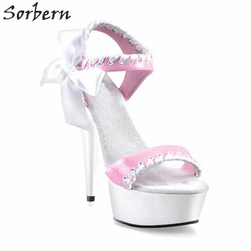 Sorbern Luxury Heels Women Sandals Ankle Strap Shoes Woman Size 12 Us High Heel Gladiator Shoes Bowtie Open Toe Summer Sandals цена 2017