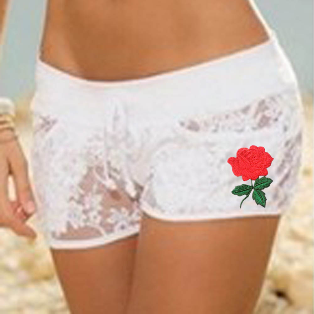 1 PC Hot Summer Popular Women's Sexy Elastic Floral   Shorts   Sheer Lace Applique Floral Hollow Out Casual Hot   Shorts