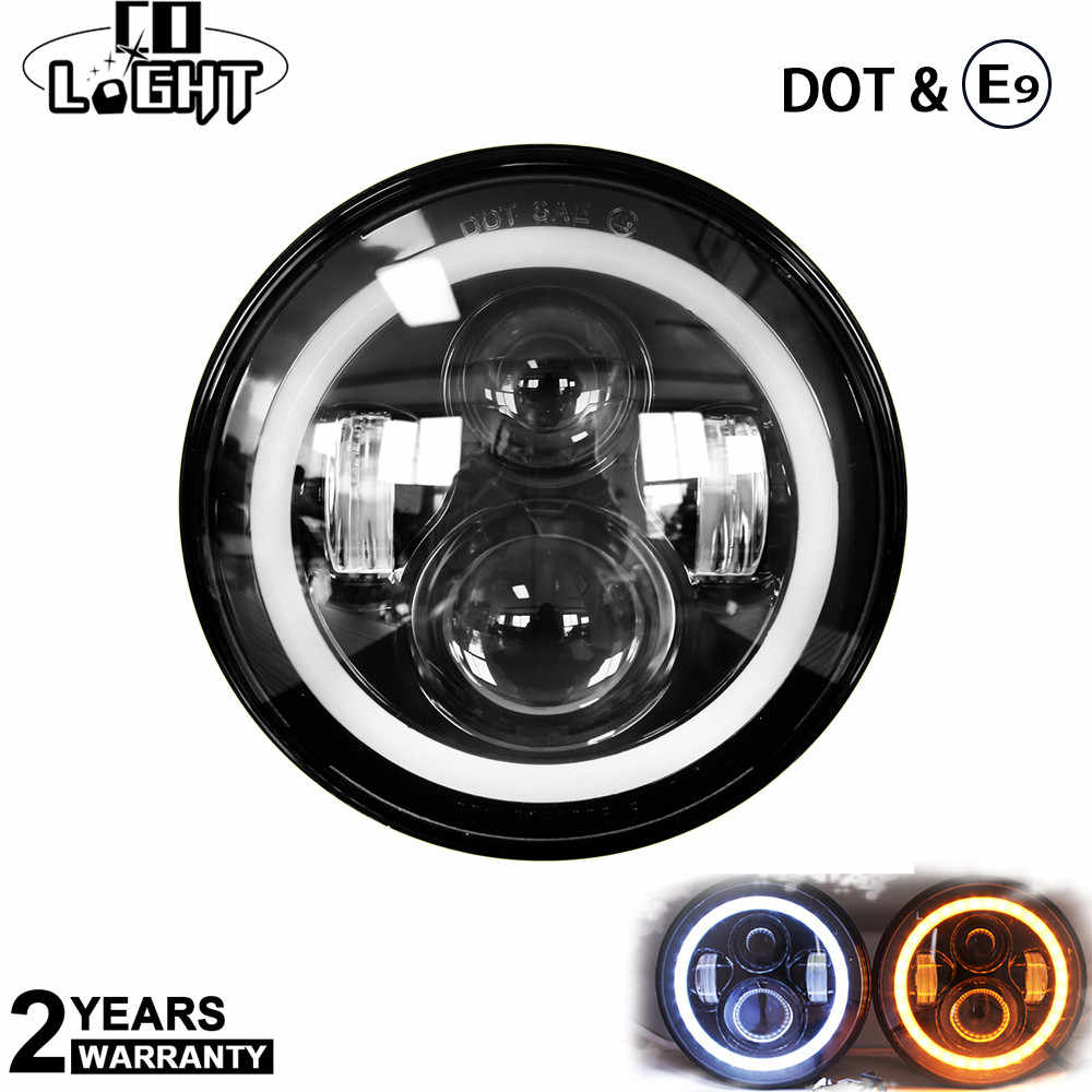 CO LIGHT 7 Inch LED Headlight DRL & Hi/Lo Beam Halo Ring AmberAngel Eye For Niva Motorcycle Jeep Lada 4x4 12V 24V