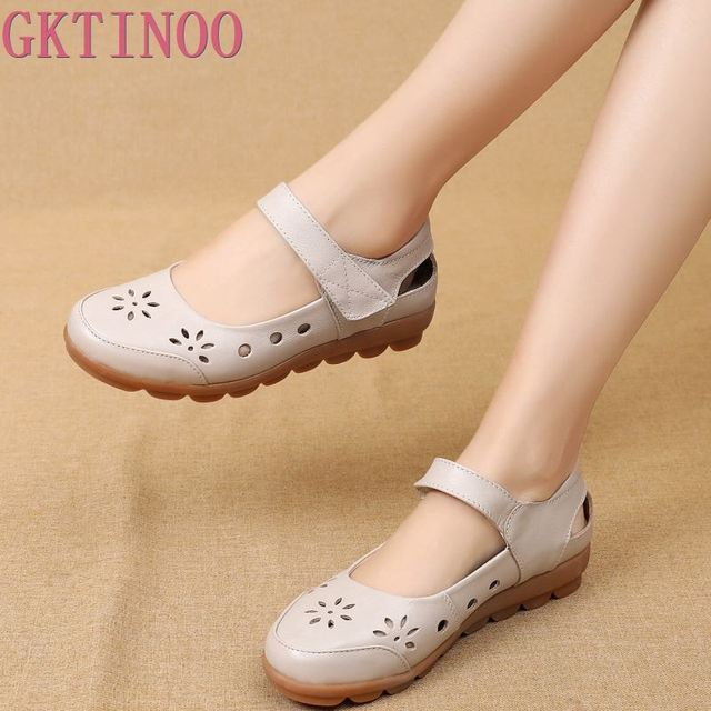 GKTINOO 2019 Fashion Genuine Leather Summer Shoes Woman Flats Low Heel Hook&Loop Hollow Out Leather Soft Flat Shoes For Ladies