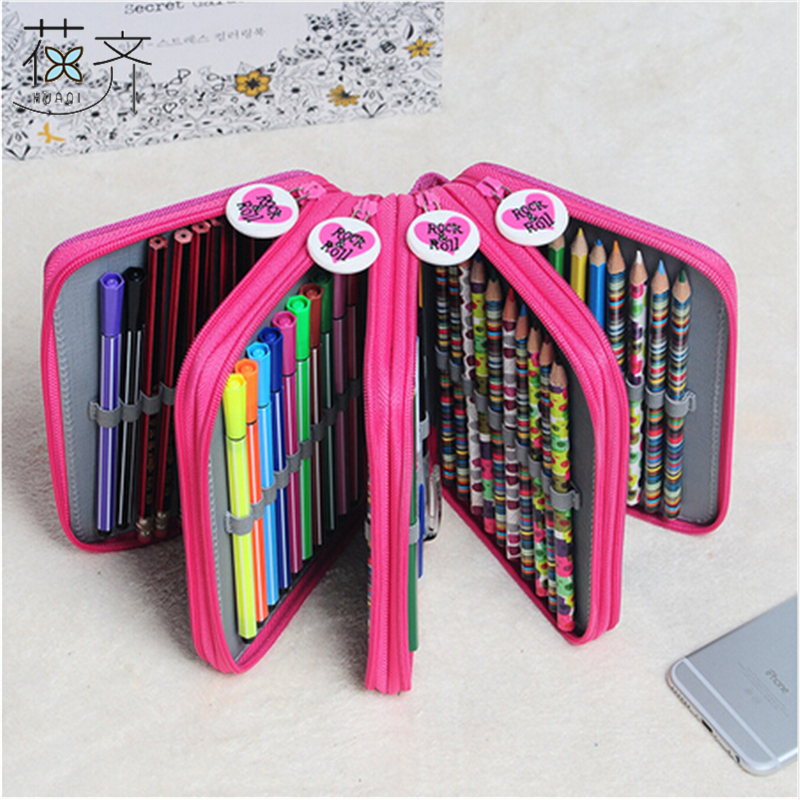 huaqi 4 Layer Oxford Canvas Pencil case 72 Holders Pencil Bags Multi-Function Storage Bag School Supplies Escolar Papelaria canvas multi layer function camouflage creative simple large capacity pencil case oxford school stationery bag with gift