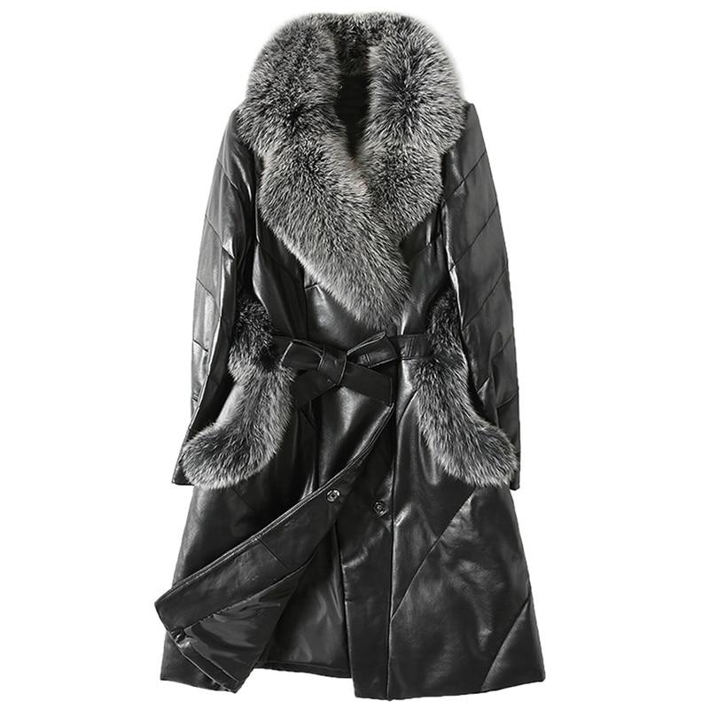 Genuine Leather Jacket Women Down Jacket Fox Fur Collar White Duck Down Winter Coat Women Korean Slim Long Coat Plus Size ZT374