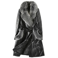 Genuine Leather Jacket Women Down Jacket Fox Fur Collar White Duck Down Winter Coat Women Korean Slim Long Coat Plus Size ZT374
