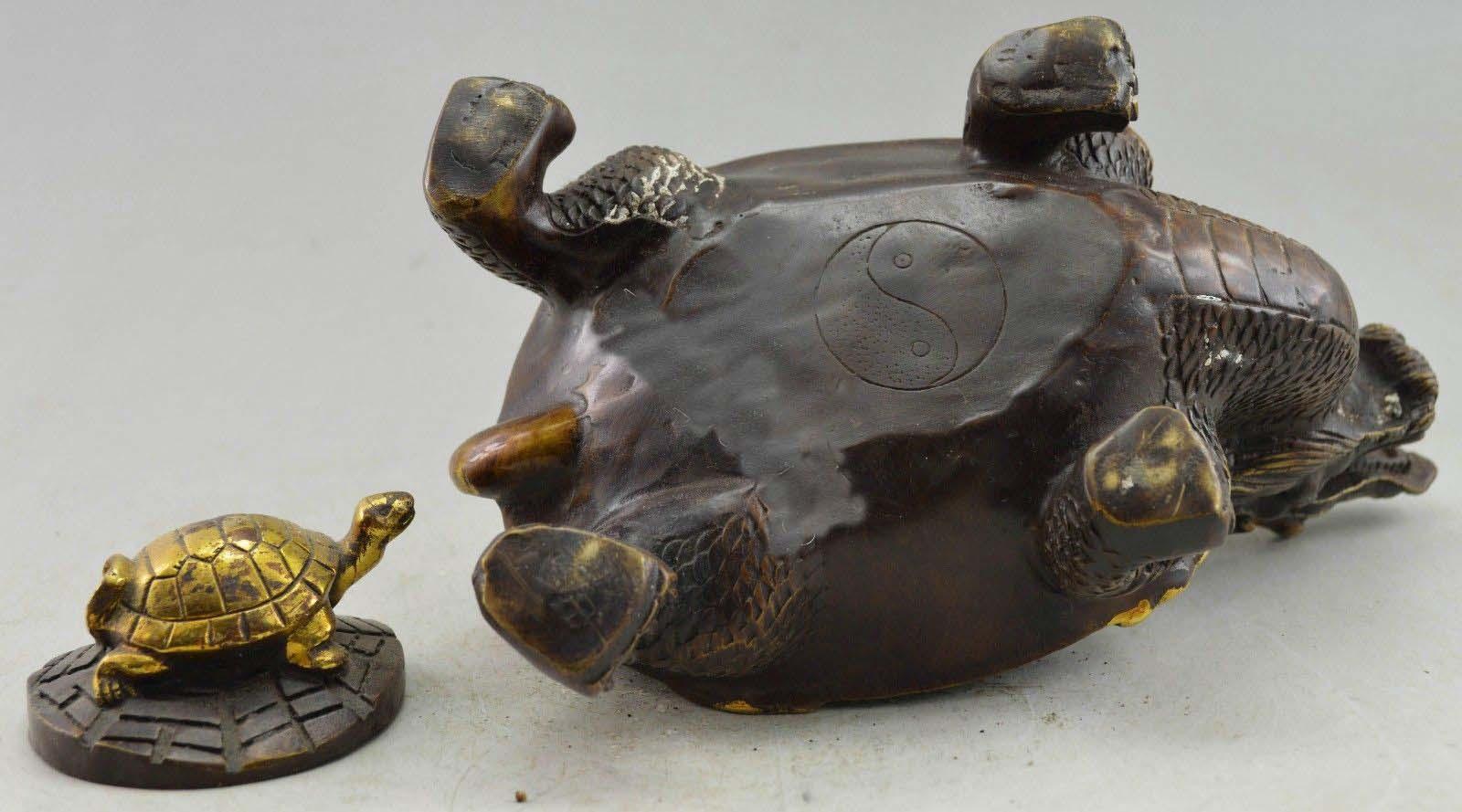 Brûleur d'encens de Statue de tortue de Dragon en cuivre décoré de Style chinois - 4