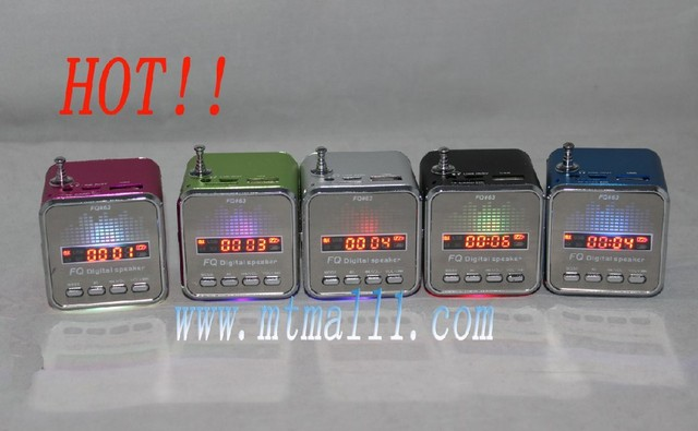 Free shipping wholesale Mini Digital portable Speaker MP3 Player USB Disk Micro SD TF Card FM Radio Line In/ Out sound box