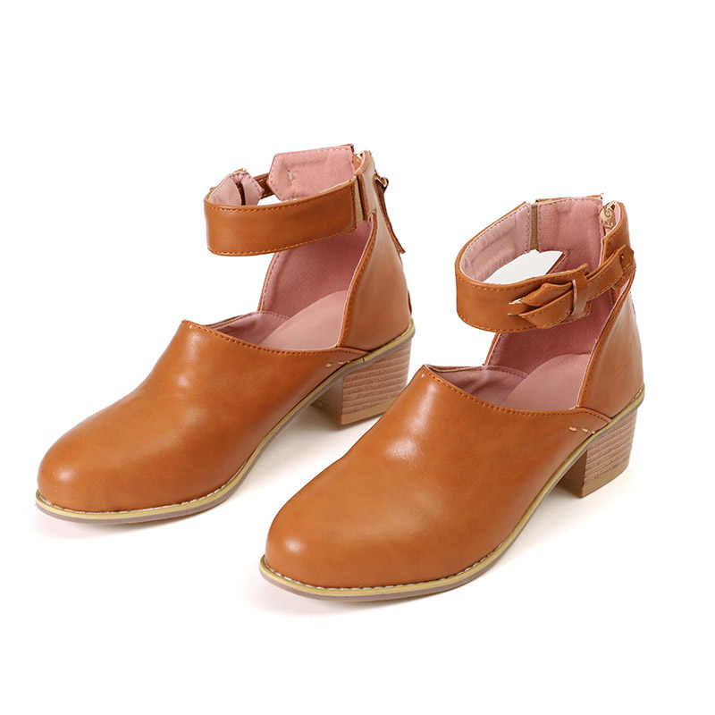 275d47c4ae4 ... Women Vintage Chunky Heel Spring Autumn Ankle Boots Ladies Fashion Faux  Suede Shoe Female Zip High ...