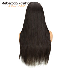Rebecca Lace Front Human Hair Wigs For Black Women Peruvian Remy Long Straight Hair Lace Wig Natural Color 10-24 Inch Free Ship(China)