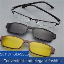 Box Brillengestell Gürtel Magnet Clip Myopie Gläser Polarisierte Sonnenbrille Männliche Sonnenbrillen Schwarzen Rahmen Nacht Vision Goggles