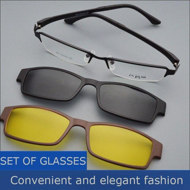 Box Eyeglasses Frame Belt Magnet Clip Myopia Glasses Polarized Sunglasses Male Sunglasses Black Frame Night Vision Goggles