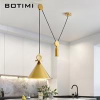 Botimi Modern LED Pendant Lights With Metal Lampshade For Living Room Adjustable Pendant Lamp Restaurant Dining Lighting Fixture