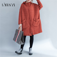 Large Size Autumn Winter Women S Cotton Trench Coat 2018 Winter Coat Long Loose Cardigan Casual