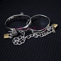 4 Size Stainless Steel Hand Cuffs Ankle Cuffs Sex Toys For Couples Chain Lockable Shackle Fetter Bondage Restraints Adult Game