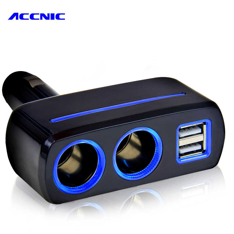ACCNIC Universal 2 Ways Car Auto Cigarette Lighter Dual USB Charger socket power adapter 2.1A / 1.0A 80W Splitter Charger 12V