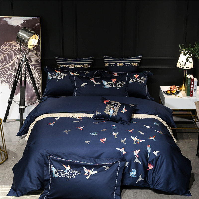 100% Egyptian Cotton Luxury Pastoral style birds Bedding Set 4/7Pcs King Queen Size Bed Sheet set Duvet cover Pillowcases100% Egyptian Cotton Luxury Pastoral style birds Bedding Set 4/7Pcs King Queen Size Bed Sheet set Duvet cover Pillowcases