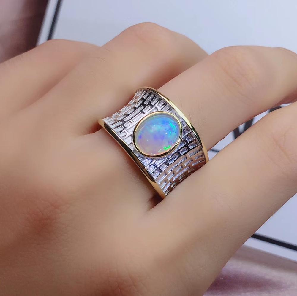 Bague homme bon feux d'artifice bague gemme gracieuse opale bague en pierres précieuses bijoux en argent forte puissance anneau anniversaire cadeau fête bague en argent