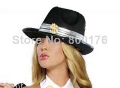 Free shipping zy254 Gangster 20s Costume Fedora Adult Black Pinstripe ganger with US dollars Hat