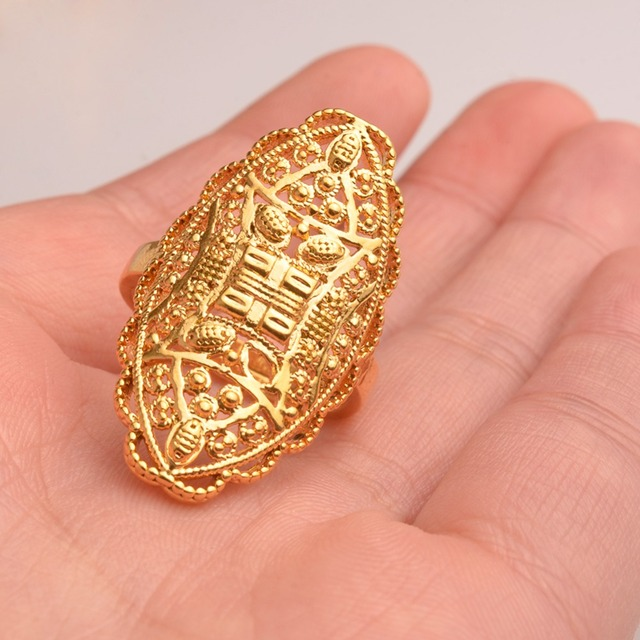 Anniyo Gold Color Arab Ring Resizable for Women/Adolescent,Dubai Wedding Jewelry African Ethiopian/Middle East Gift #093706
