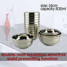 wholesale /retail 16cm/830ml hight quality stainless steel double wall anti-hot Chinese style bowl picnic tableware