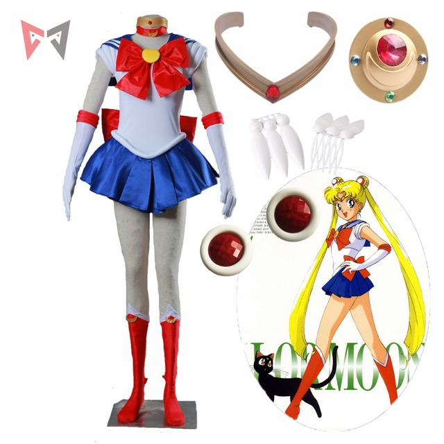 Sailor Moon cosplay Tsukino Usagi Cosplay Costume Custom Made size and wig for child female party dress Christmas set