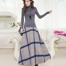 Spring Autumn Female Retro Plaid Woolen font b Skirts b font High Waist Long Ankle length