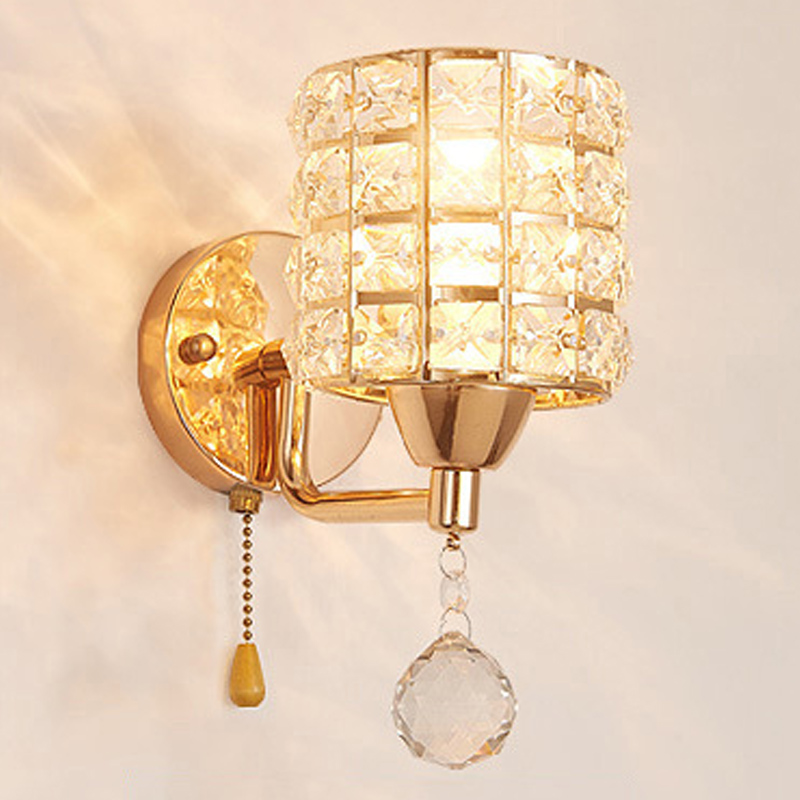 Crystal Luminaria AC V Wall Lights Pull Chain Switch - Lamp shade for bathroom