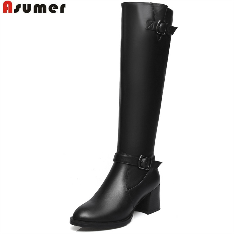 ФОТО 2016 winter hot sale female knee high boots with zip and buckle genuine leather round toe hoof heels sexy women boots