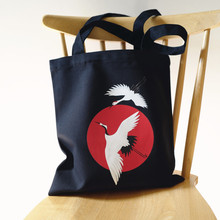 Little Paris hand made auspicious crane Japanese style canvas bag shoulder handbag Womens