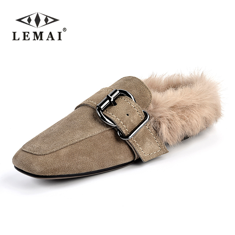 Fashion Real Nubuck Leather Rabbit Fur Flats Slippers Shoes Women Fur Lined Loafers Slip on Creepers Vintage Shoes Mocassin 2018 цена 2017