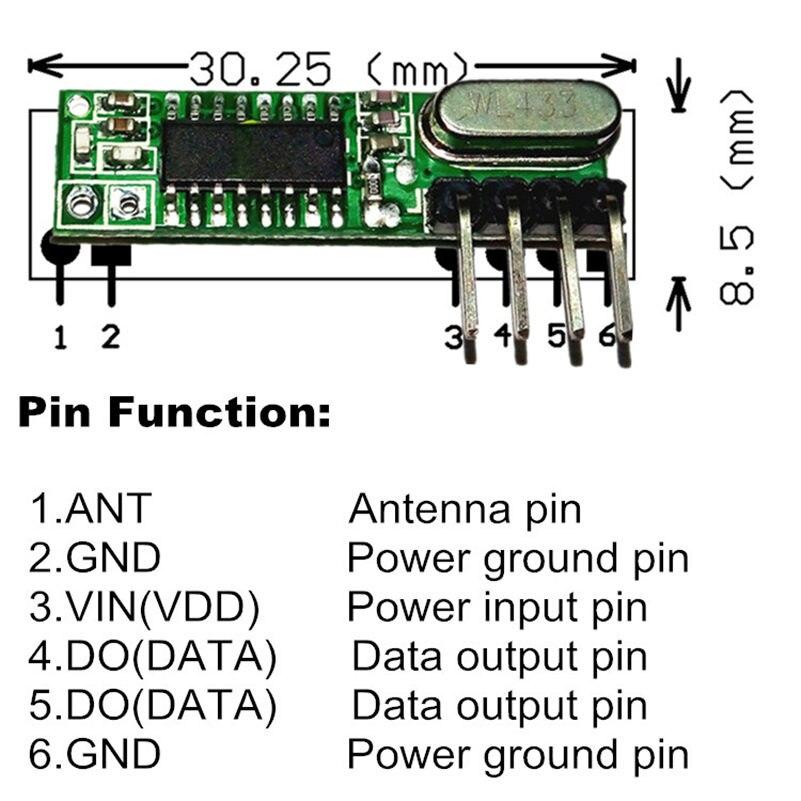 1 8 1 Set Módulo Rf 433 Mhz Receptor Y Transmisor Superhetero Kit Con Antena Para Arduino Uno Diy Kits 433mhz Control Remoto In Controles Remotos