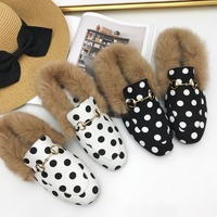 Hot Instagram Women Mules Fur Slides Flat Heel Casual Loafer Shoes Fashion Chain Slides Autumn   Slippers   Furry   Slipper   Big Size
