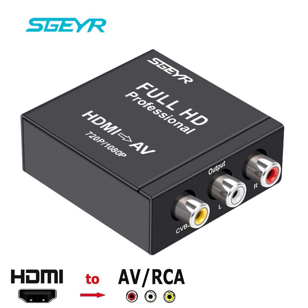 SGEYR HDMI to VA RCA Converter HDMI to CVBS AV RCA Composite Video Converter HDMI2AV Adapter 1080P/720P HDMI Converter