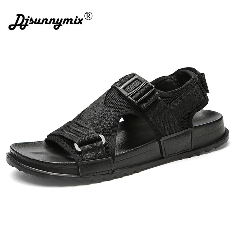 DJSUNNYMIX Plus size 38-46 Men Beach Sandals Summer Sandals Men Breathable Casual Beach Fashion Sandalias