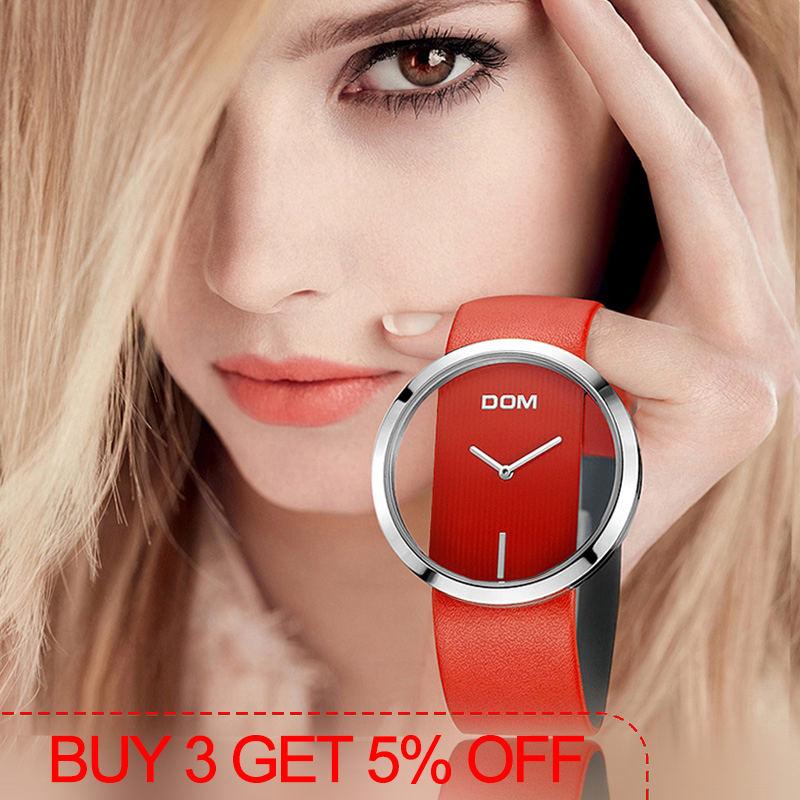 DOM Women luxury Casual 30 m quartz watches genuine leather