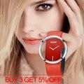 Reloj de pulsera de lujo para mujer, relojes de cuarzo a prueba de agua 30 m casuales, con correa de cuero genuino, elegante reloj de pulsera para mujer