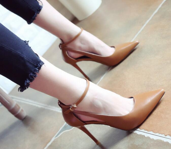 ФОТО Side Hollowed Women Sexy Pointed Toe High Heels Ankle Buckle New 2017 Ladies Thin Heel Pumps OL Brown Shoes Free Shipping