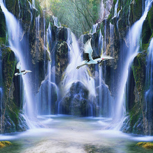 Custom 3D Mural Nature Landscape Waterfall