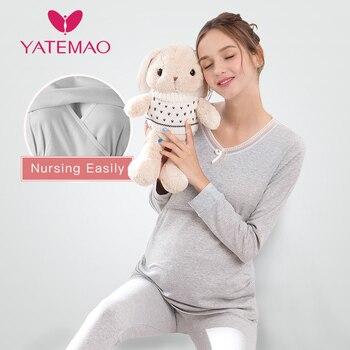 04e7f9944 YATEMAO de maternidad de enfermería conjuntos de pijama pijamas de lactancia  pijamas ropa de dormir embarazo Pijama de algodón