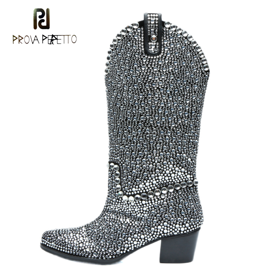 Prova Perfetto luxury full rhinestone knee boots women pointed toe chunky heel women bling bling crystal long boots runway style new design women fashion pointed toe bling bling over knee rhinestone boots crystal long high heel boots luxury thin heel boots
