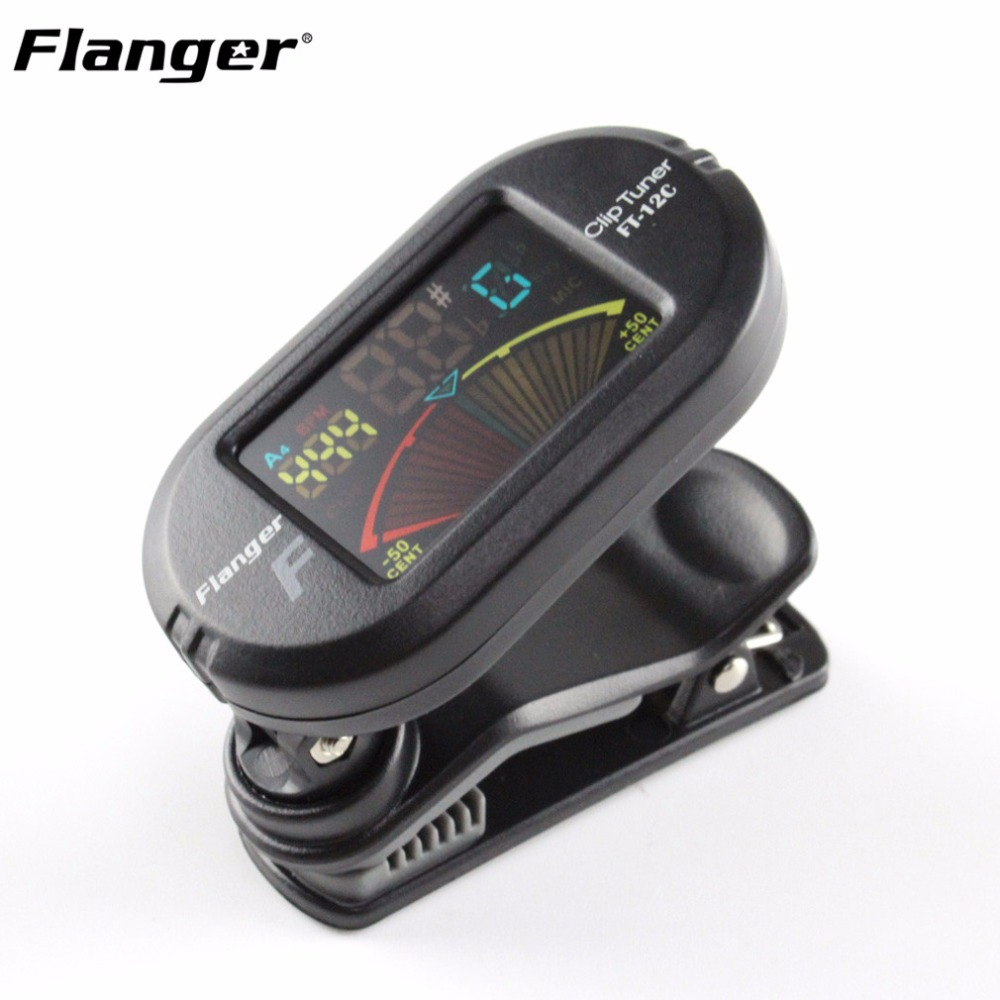 цены Flanger FT-12C Portable Digital Guitar Tuner Color Screen Tuner With Clip On Design For Chromatic Guitar Bass Ukulele Violin