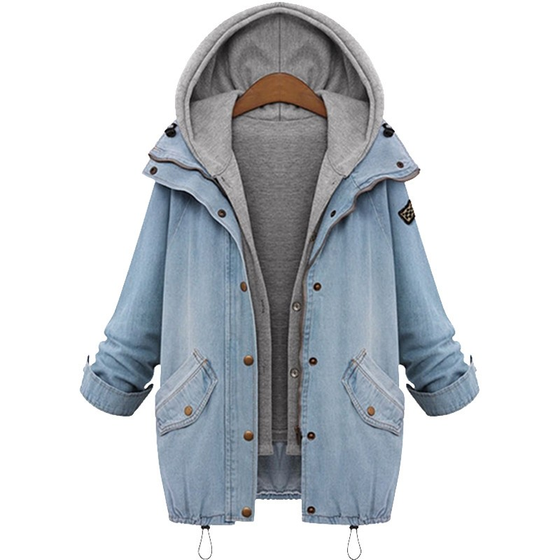 Hooded Drawstring Trends Jackets 2016 Fashion Autumn Winter Pockets Two Piece Outerwear Women Long Sleeve Buttons Blue Coat  (12)