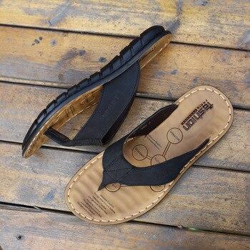 2019 Summer Shoes Men Slippers Genuine Leather Beach Slippers Mens Flip Flop Sandals Summer Man Shoes Male Flip Flops KA673 2
