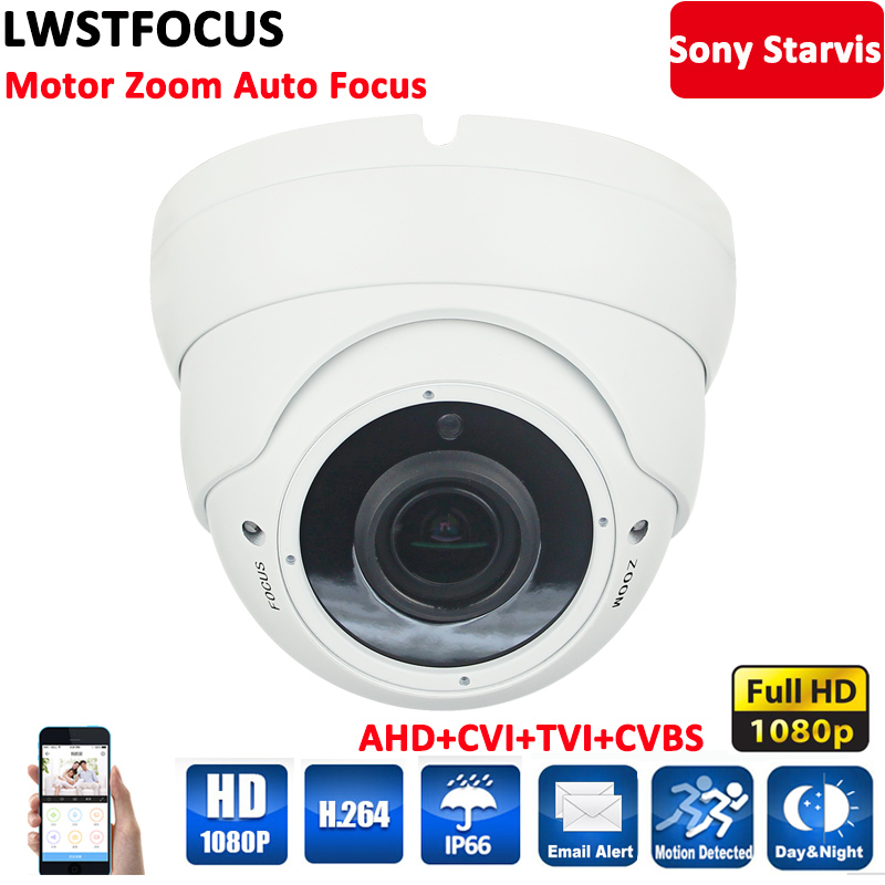 LWSTFOCUS Full HD 1080P AHDH Camera Motorized Zoom lens 2.8mm-12mm 2.1MP Waterproof IR Dome Camera AHD/CVI/TVI/ANALOG 4 IN 1